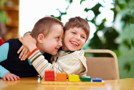 happy kids with disabilities in preschool